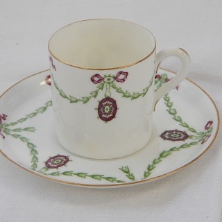 Royal Worcester Coffee Cup & Saucer circa 1897.