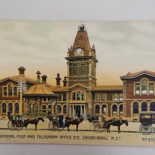 Postcard The General Post & Telegraph Office etc INVERCARGILL