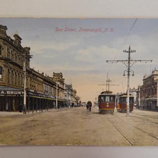 Invercargill Tram postcard DEE STREET NZ
