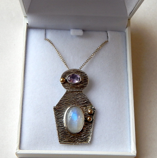 Moonstone and Amethyst Sterling Silver Pendant with chain