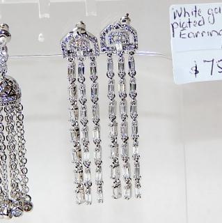 3 drop crystal earrings. NEW