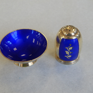 Sterling silver and enamel Danish cruet