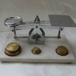 Postal scales with brass weights