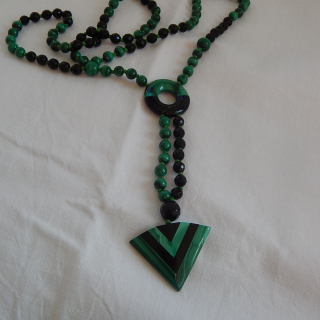 Malachite and ONYX Art Deco necklace