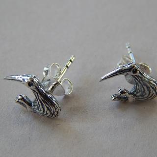 NZ Kiwi , Sterling silver stud earrings