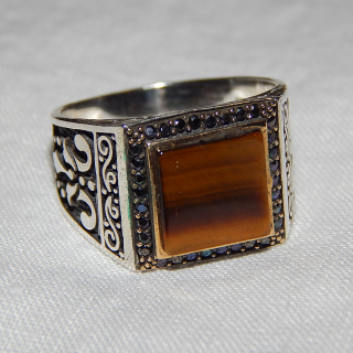 FANCY, Tigers Eye and Silver Signet ring