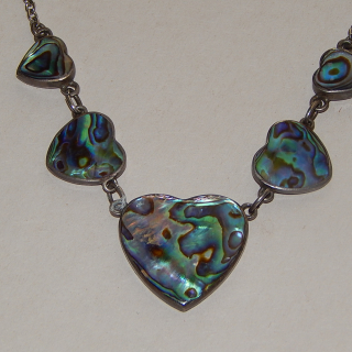 PAUA and Silver heart necklace
