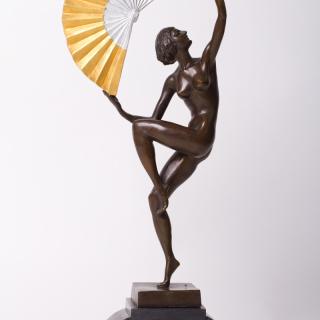 Art Deco Bronze lady with gold fan