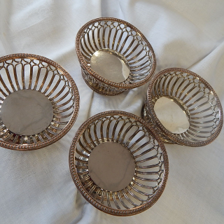 Set of ANTIQUE  Silver on COPPER  Coasters