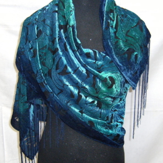 Art Deco Style velvet deep sea blue green scarf