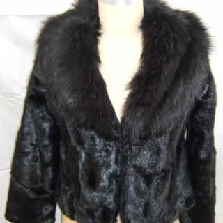 Art Deco Black Faux fur jacket