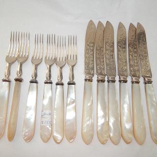 Set of MOP Handled fruit knives and forks