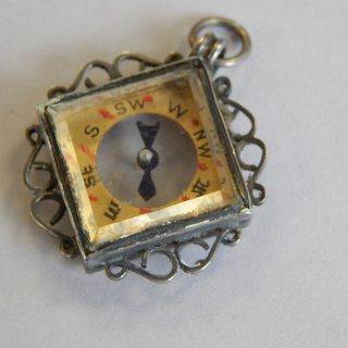 Antique Silver small Fob Compass