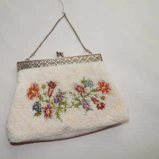 Vintage purse, with beads and tapestry .