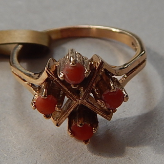 Vintage Gold and CORAL Ring