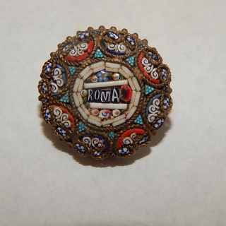 Small ROMA Moasic brooch