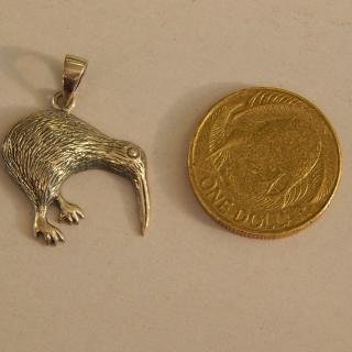 Silver New Zealand Kiwi Pendant