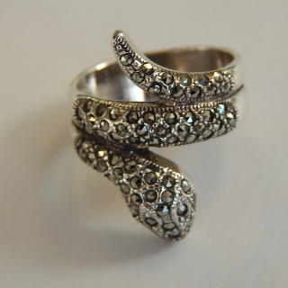 Large Sterling Silver Marcasite SNAKE Ring