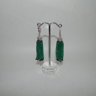 Green Agate, Onyx and Silver Tassel Earrings