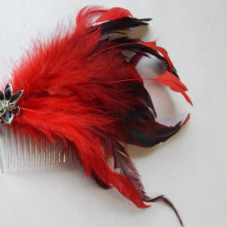 Art Deco Red feather Hair Comb