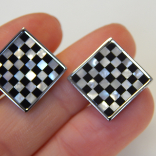 Checker Board Mother of Pearl Cuff Links