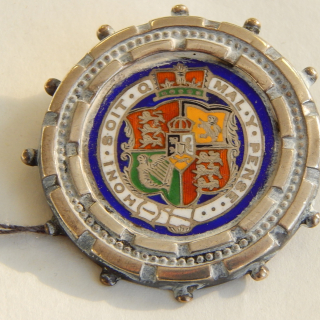 Sterling Silver and Enamel Victorian Brooch