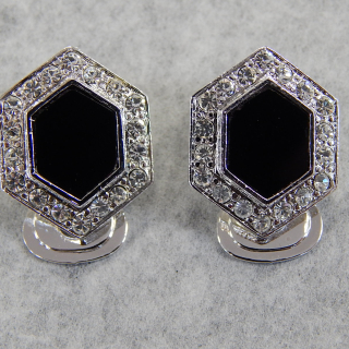 Black and Diamante clip on EARRINGS