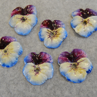Set of 6 Pansy flower china button fronts