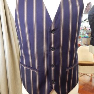 Art Deco Blue Brown Waist Coat