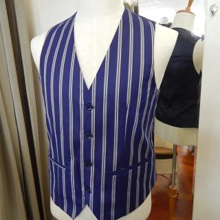 Blue White stripe Waist Coat