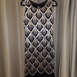 Silver and Black Sequin Art Deco dress