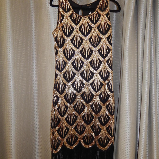 Black and gold Deco Sequin Dress