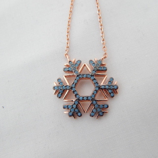 Sterling Silver Gold plated Snow Flake necklace