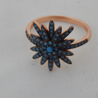 Antique look Silver gold plated ring .size R