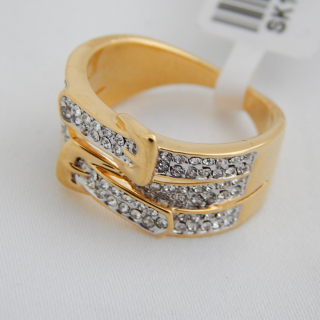 NEW Gold plated double buckle ring