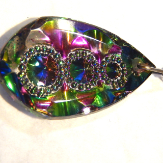 Silver chain and 1960's glass pendant