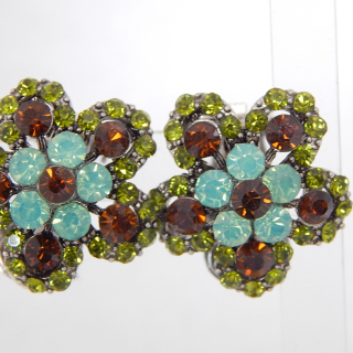 Green and Brown Crystal clip on Earrings