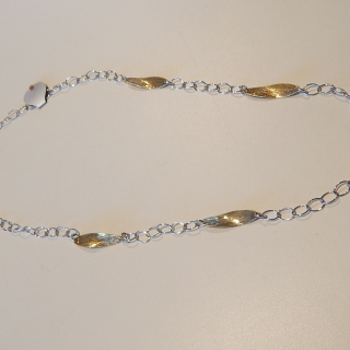Sterling silver , rose and yellow gold plate necklace.