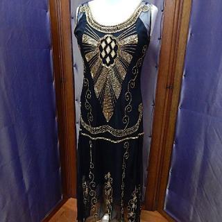 Art deco beaded Cleopatra dress