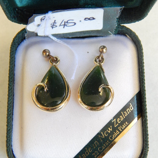 Greenstone and Gold Plated Earrings