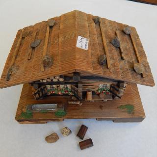 Vintage Log Cabin Music Box