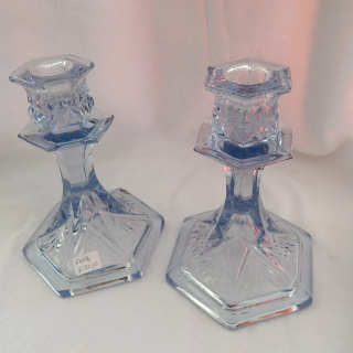 Pair of Blue Glass Candle Sticks