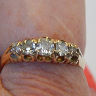 1898 5 Stone Diamond Ring.