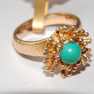 Turquoise and Gold RETRO Ring