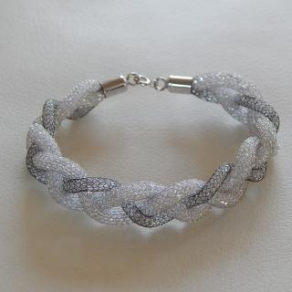 Silver Mesh plait CZ bracelet