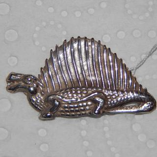 M Vigor Brown Dinosaur Brooch