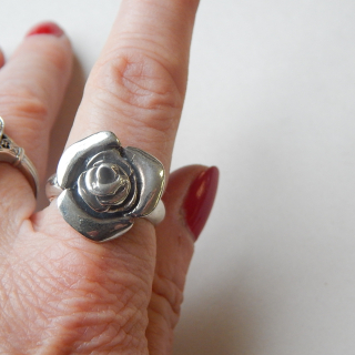 NZ Made silver ROSE Ring