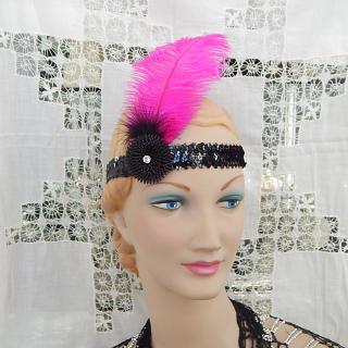 PINK Ostrich Feather Deco Headband
