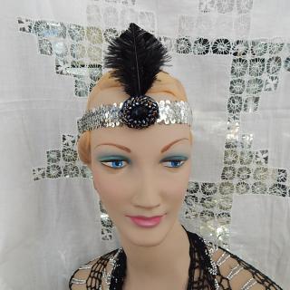 Black Deco Feather on Silver, headband