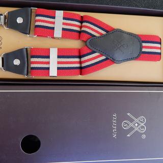 Gents Red Stripe Suspender Braces